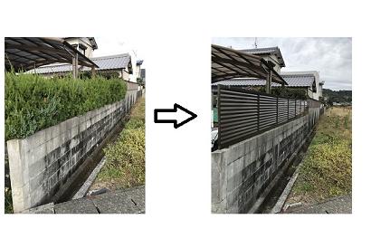 <外回り施工事例 vol.8> 植木フェンス→形材フェンスへ