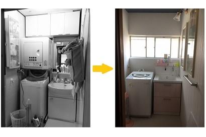 <洗面所改修 施工事例 vol.4>明るくかわいい洗面所に